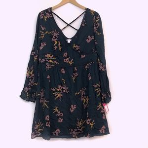 NEW XHILARATION Green Floral Strappy Peasant Dress